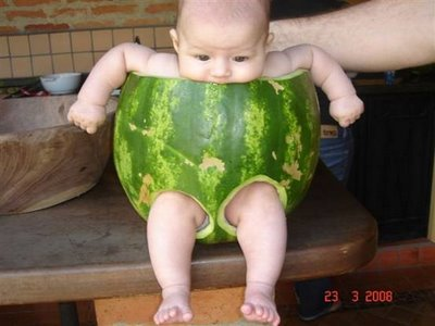 baby in watermelon