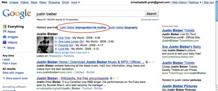justin bieber google search
