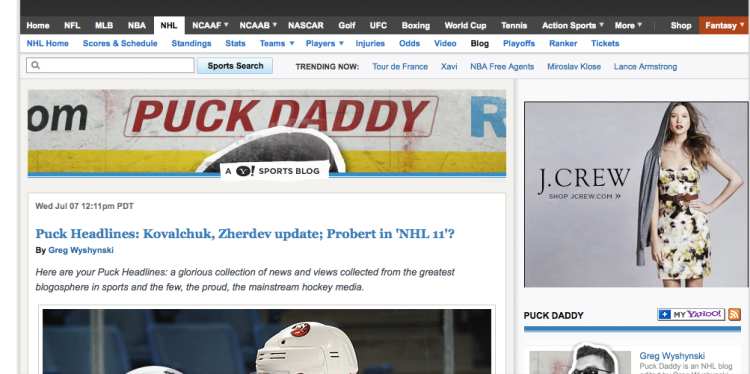 Puck Daddy screen shot