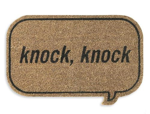door mat with knock, knock on it
