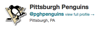 Twitter, Pittsburgh Penguins