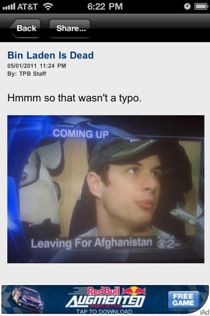 Sidney Crosby, Osama bin Laden